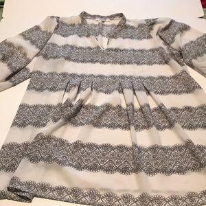 2xl Daniel rainn sheer black and cream blouse